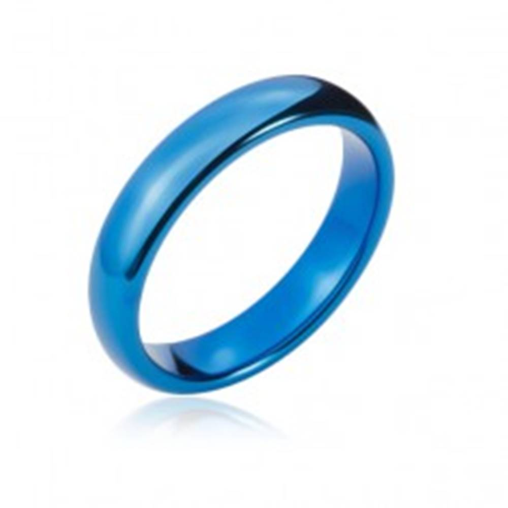 Šperky eshop Wolfrámová obrúčka s oblými hranami, tmavo modrá, 4 mm - Veľkosť: 47 mm