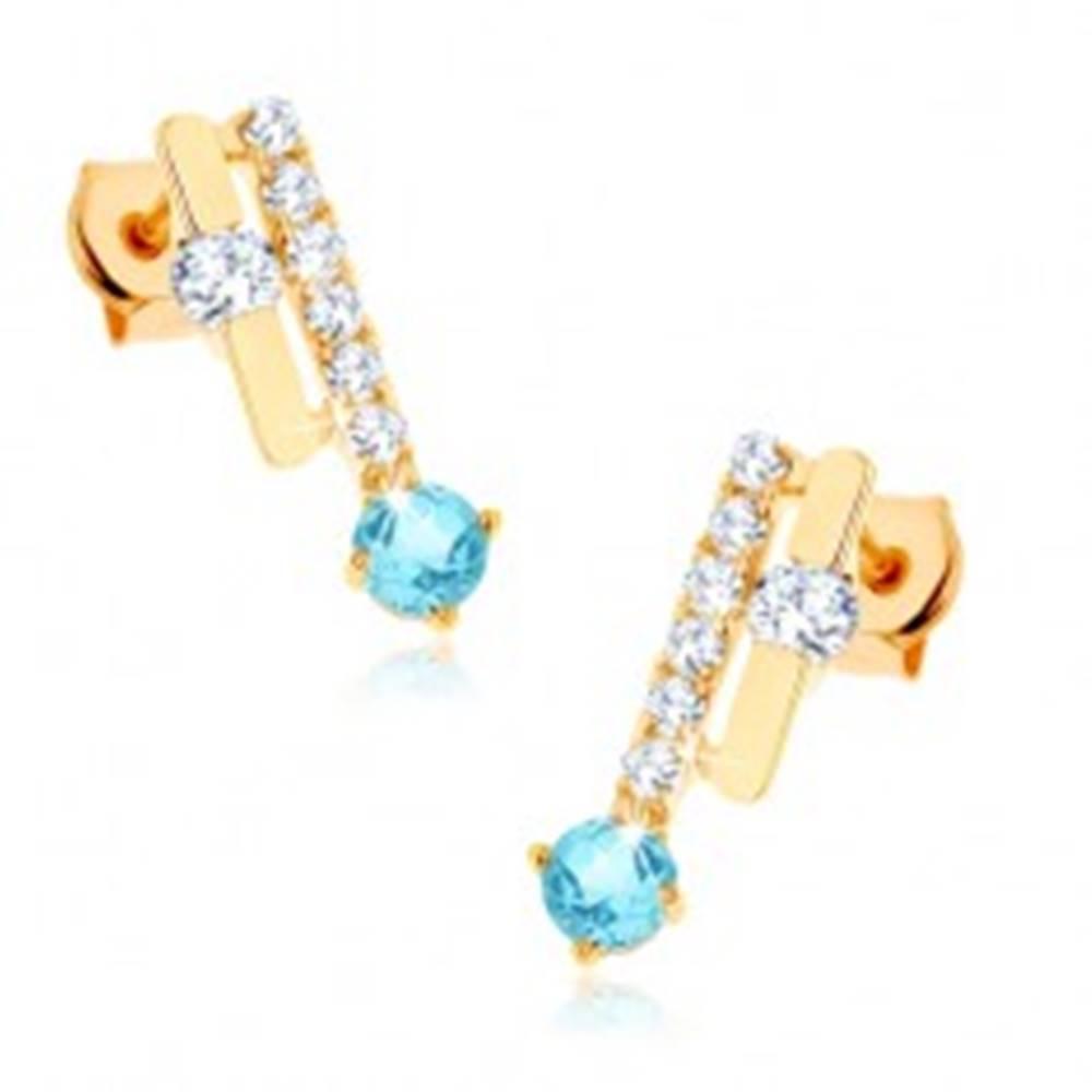 Šperky eshop Zlaté náušnice 375 - dva pásiky, ligotavý modrý topás, číre zirkóny