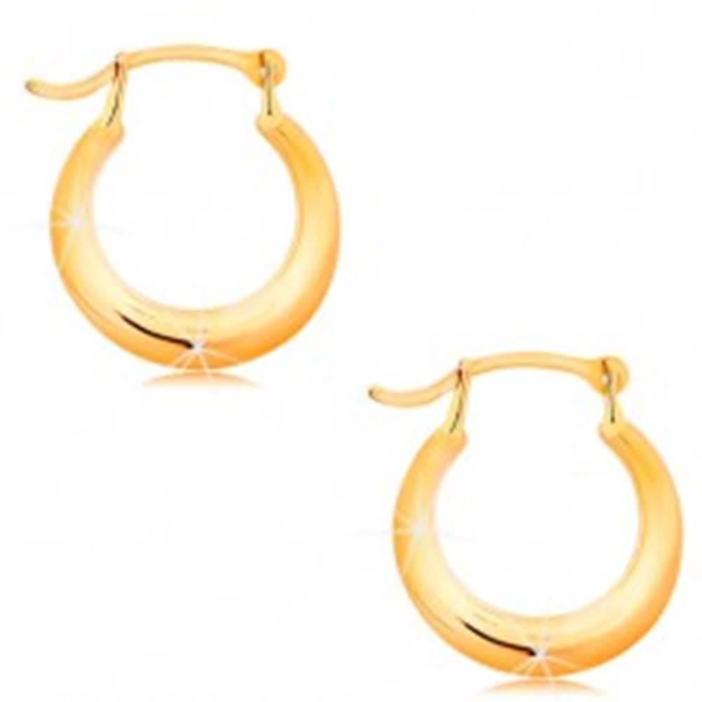 Šperky eshop Zlaté náušnice 585 - malé lesklé krúžky, zaoblený lesklý povrch
