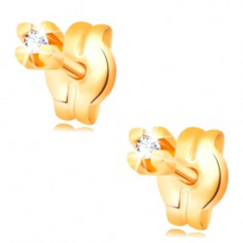 Šperky eshop Zlaté puzetové náušnice - číry okrúhly zirkón v kotlíku, 1,25 mm