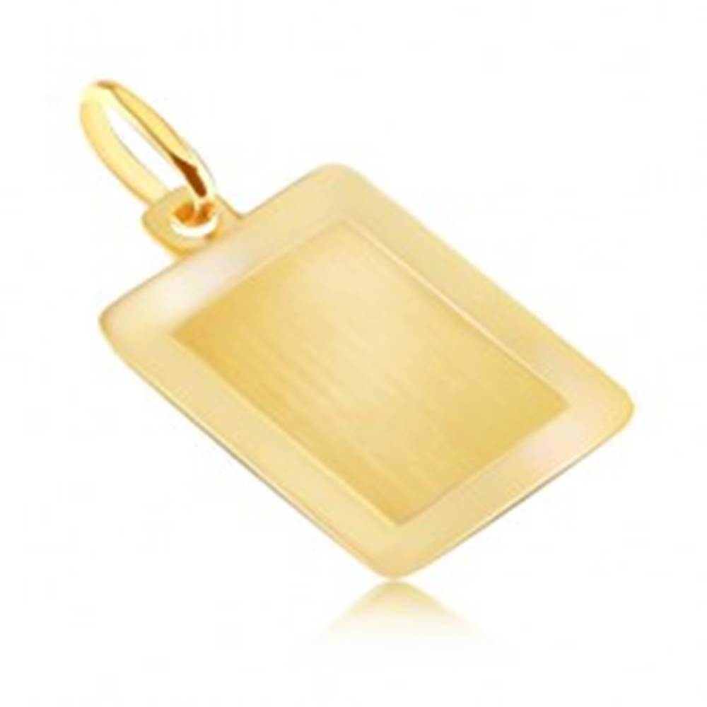 Šperky eshop Zlatý 14K prívesok - hladká obdĺžniková známka s lesklým rámom