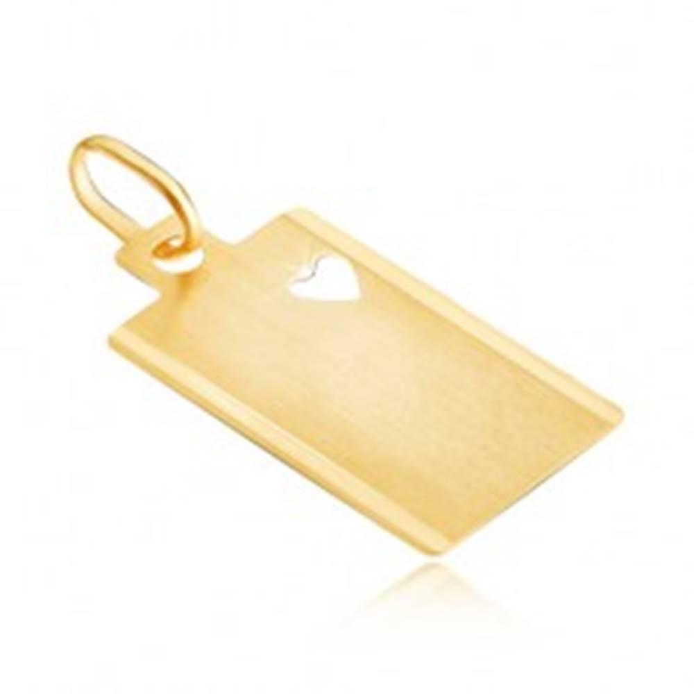 Šperky eshop Zlatý 14K prívesok - matný obdĺžnik so srdcovým výsekom