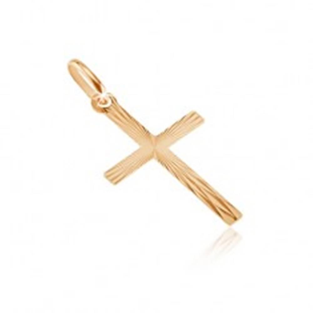 Šperky eshop Zlatý 14K prívesok - úzke ramená s lesklými lúčmi