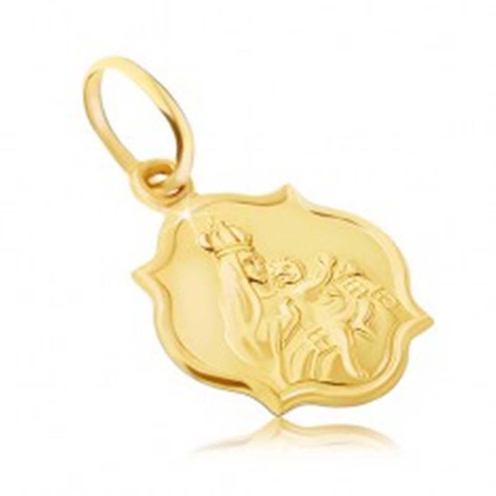 Šperky eshop Zlatý prívesok 585 - obojstranná matná známka s Madonou a Kristom