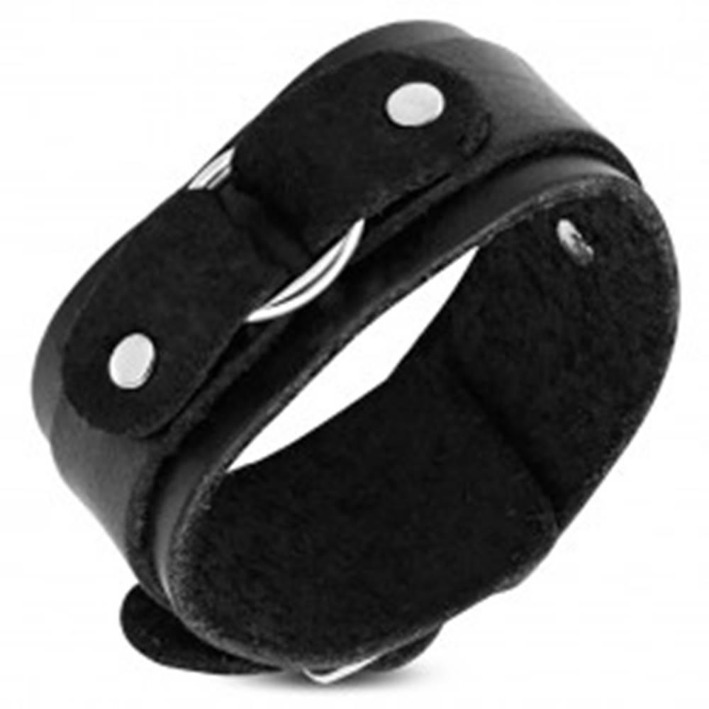 Šperky eshop Náramok na ruku z čiernej kože, dvojvrstvový s kruhom