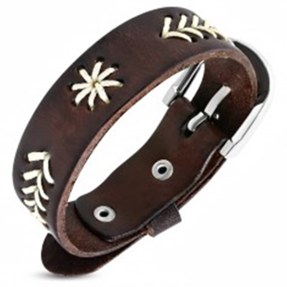 Šperky eshop Úzky náramok z kože - vyšívané stromčeky, hviezdička