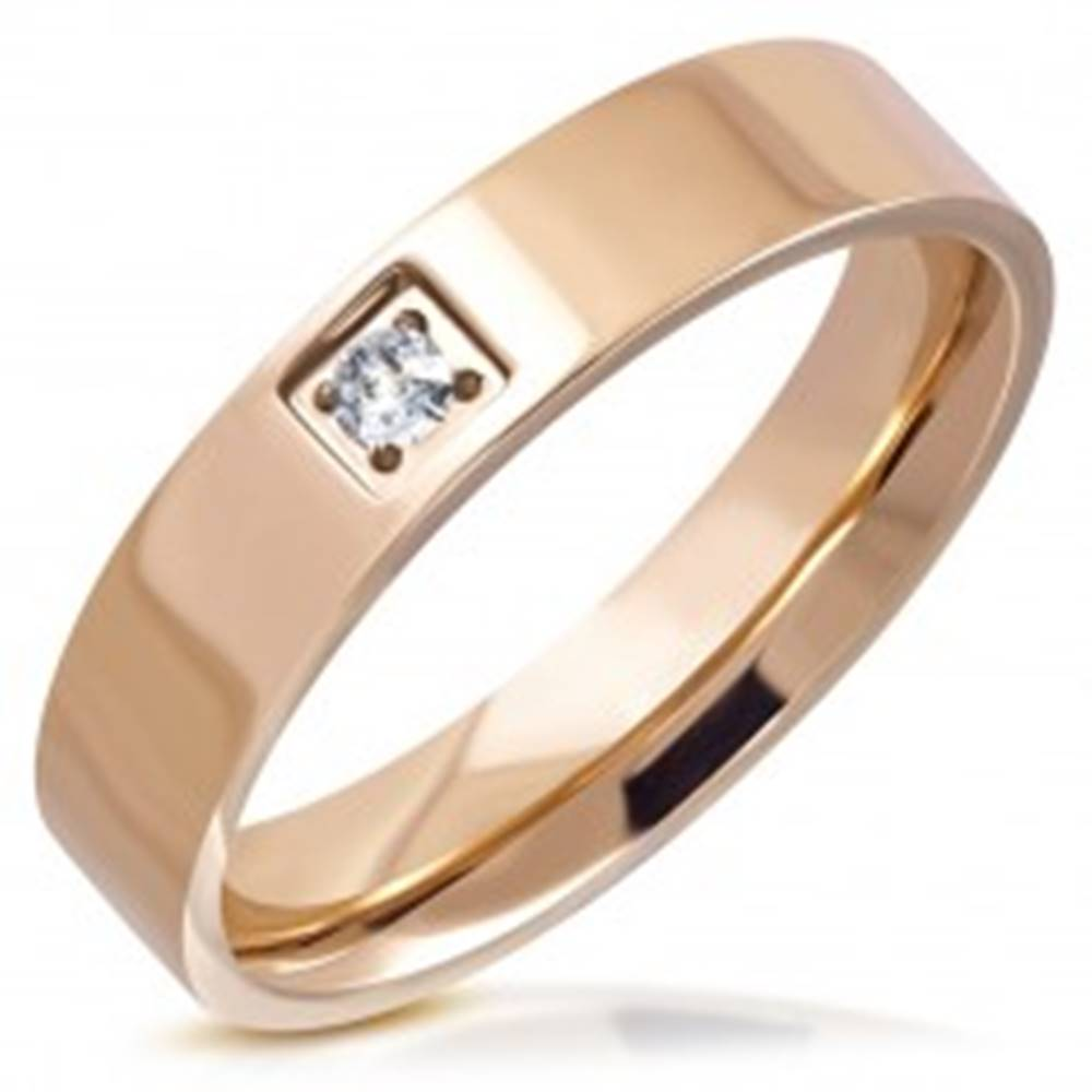 Šperky eshop Lesklý prsteň z ocele - medený odtieň, okrúhly brúsený zirkón v štvorcovej objímke, 5 mm - Veľkosť: 51 mm