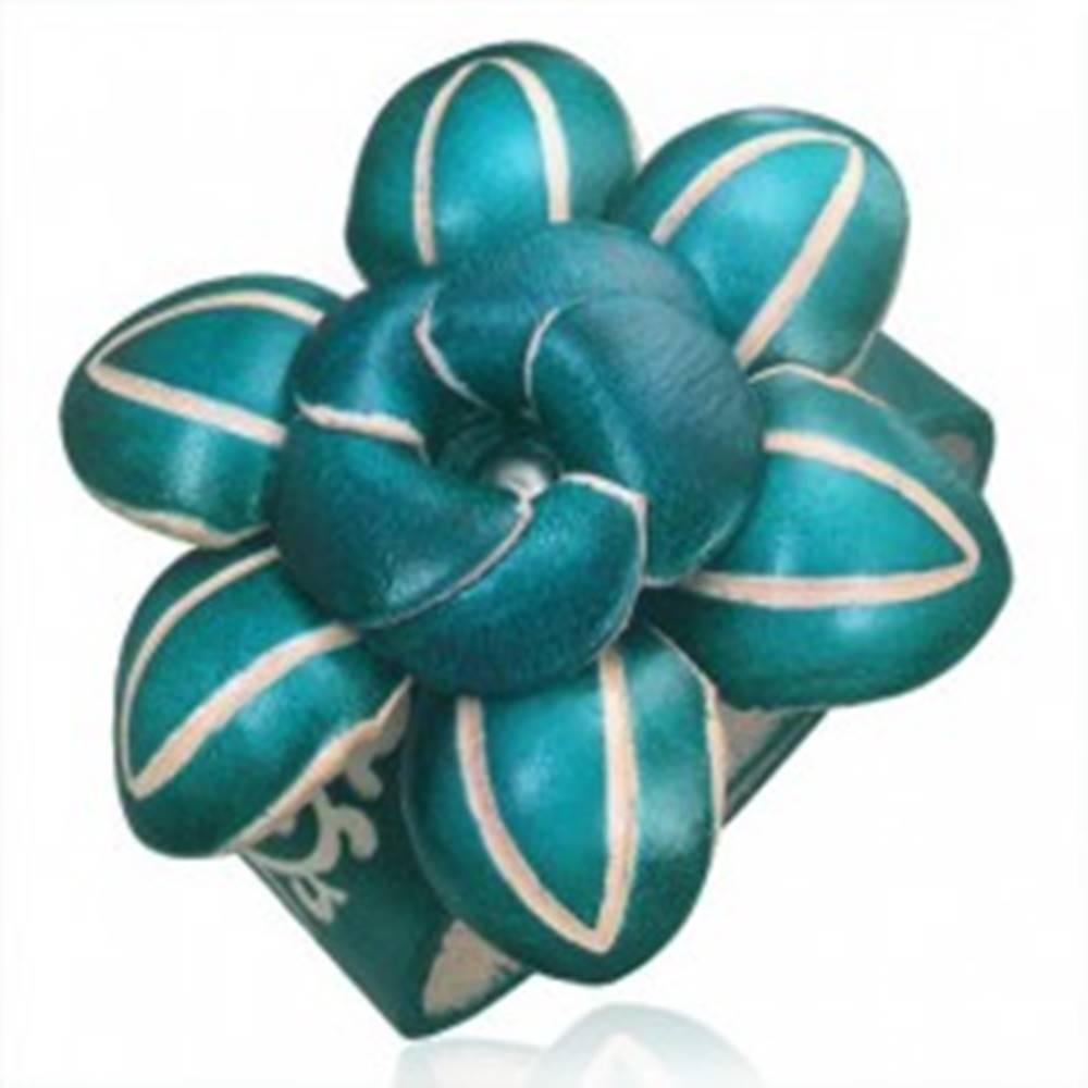 Šperky eshop Kožený náramok - tmavozelený 3D kvet s ozdobnými zárezmi