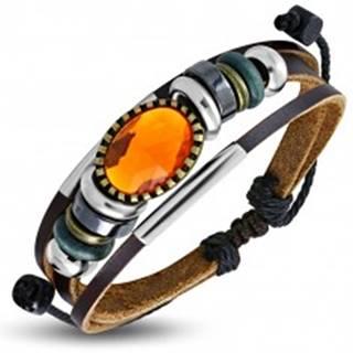 Multináramok - hnedé pásy kože, rôznofarebné korálky, oranžová ozdoba