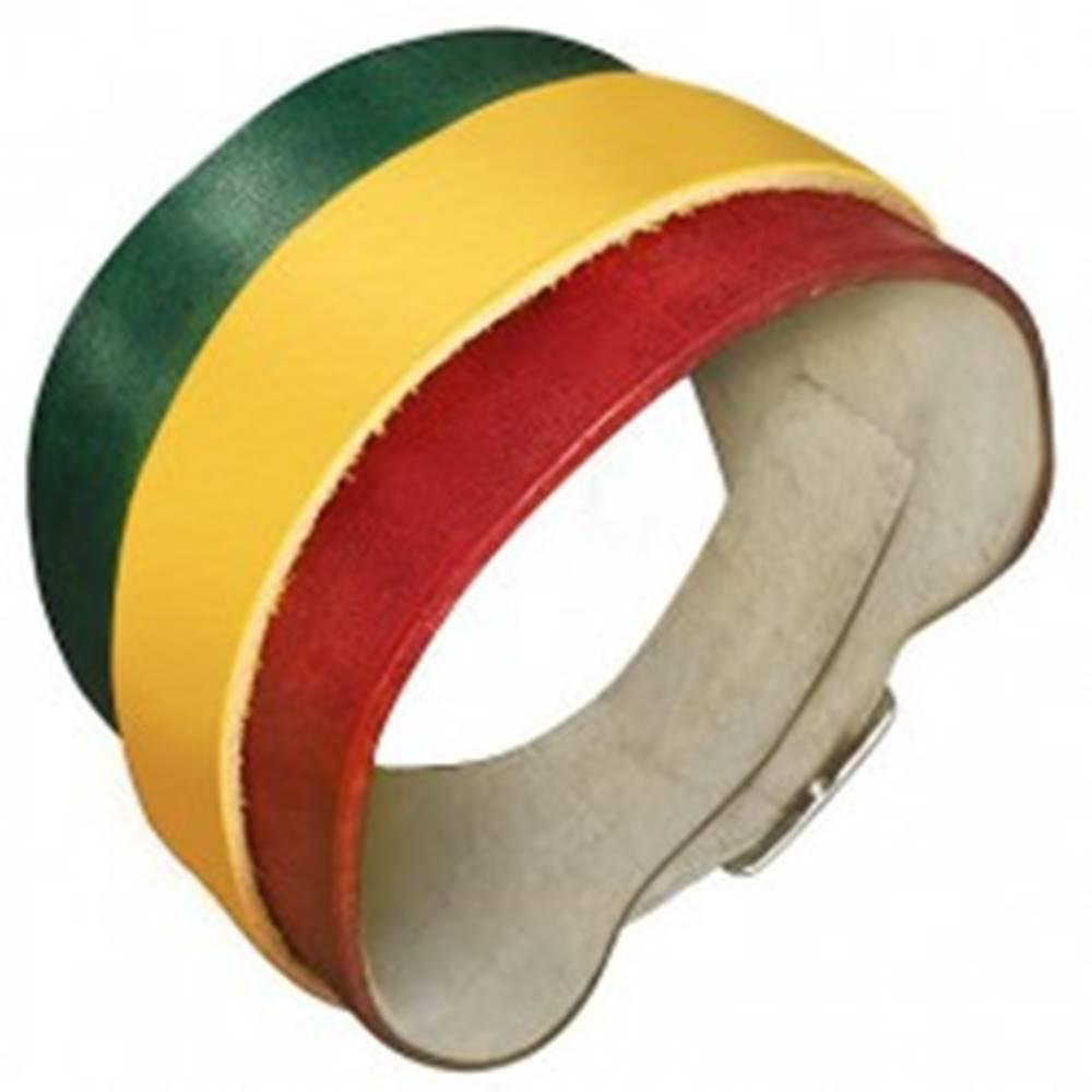 Šperky eshop Kožený náramok - zeleno-žlto-červený pás, kovová pracka