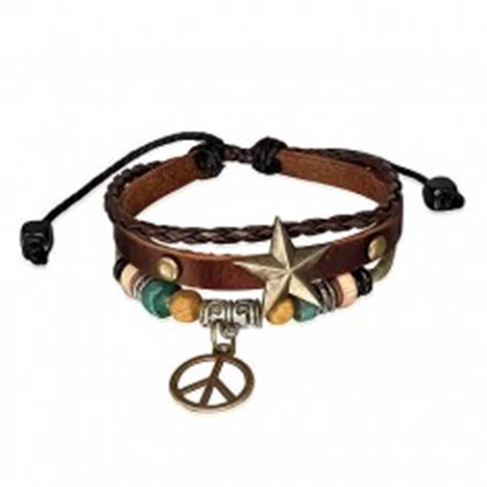 Šperky eshop Multi náramok - pás s hviezdou, pletenec, šnúrka a symbol mieru