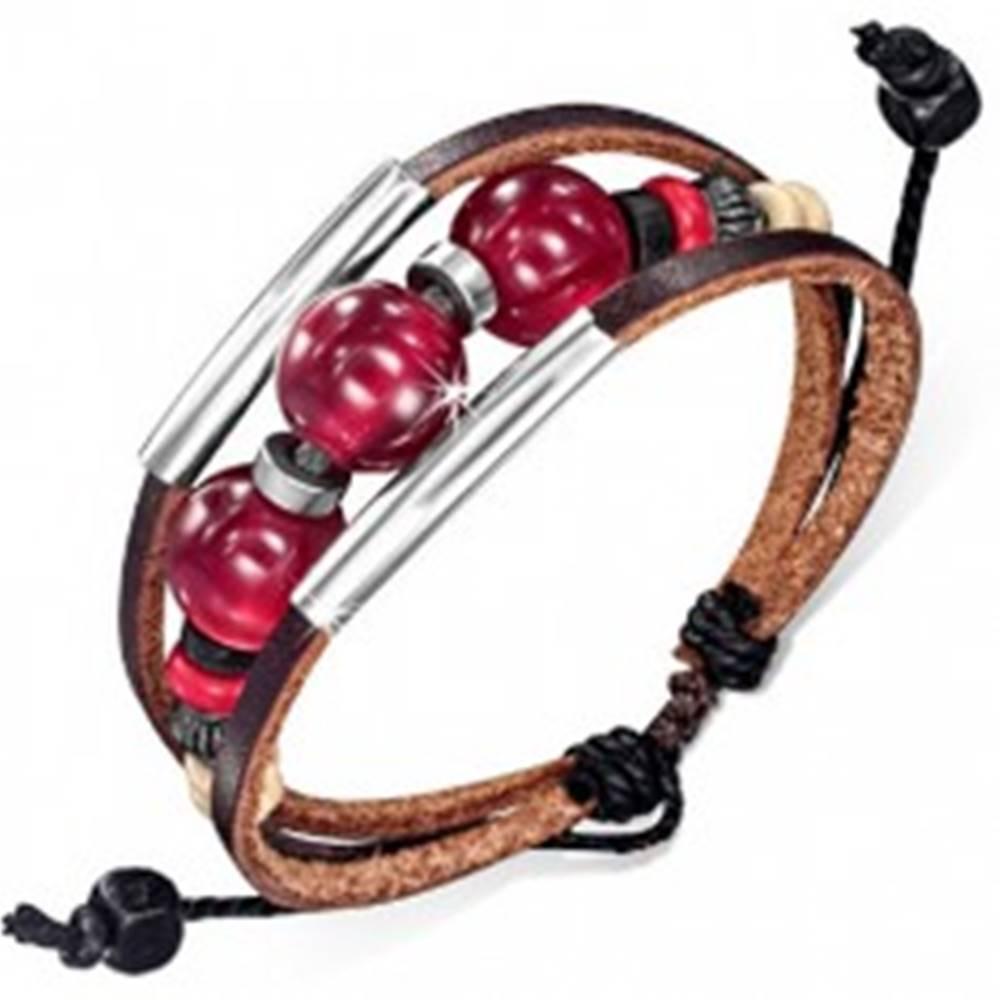 Šperky eshop Multináramok - dva čokoládové pásy kože, šnúrka, rúrky, bordové guličky