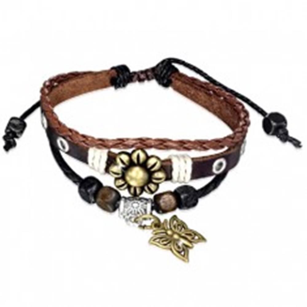 Šperky eshop Multináramok - hnedý pás kože, pletenec, šnúrky, kvet a motýľ