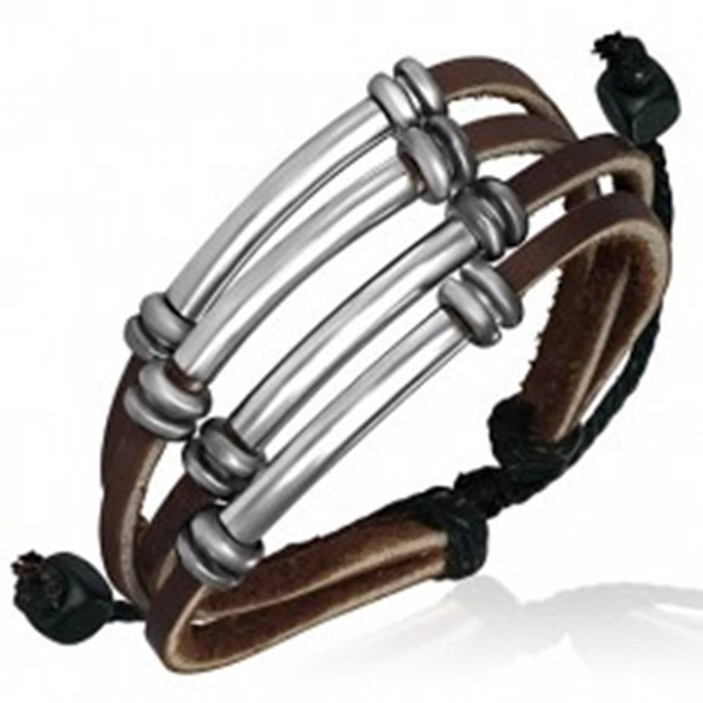Šperky eshop Multináramok z kože, tmavohnedé pásiky, kovové rúrky, korálky