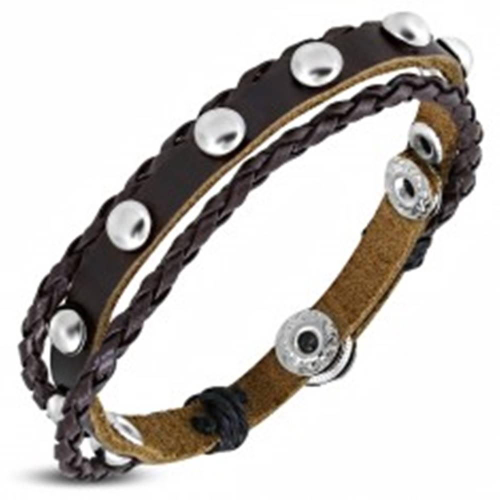 Šperky eshop Náramok z kože - pás vybíjaný polguľami, dva pletence