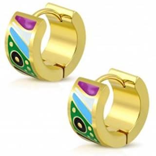 Kĺbové oceľové náušnice zlatej farby, glazúrované útvary v pestrých farbách
