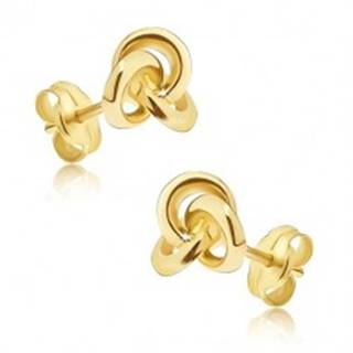 Náušnice v žltom zlate 585 - tri navzájom prepojené obruče, puzetky