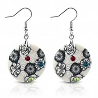 Náušnice z materiálu FIMO - kruhy zdobené špirálami a kvetmi, farebné zirkóny