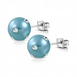 Oceľové náušnice - matná umelá perla v tyrkysovom odtieni, číre zirkóniky