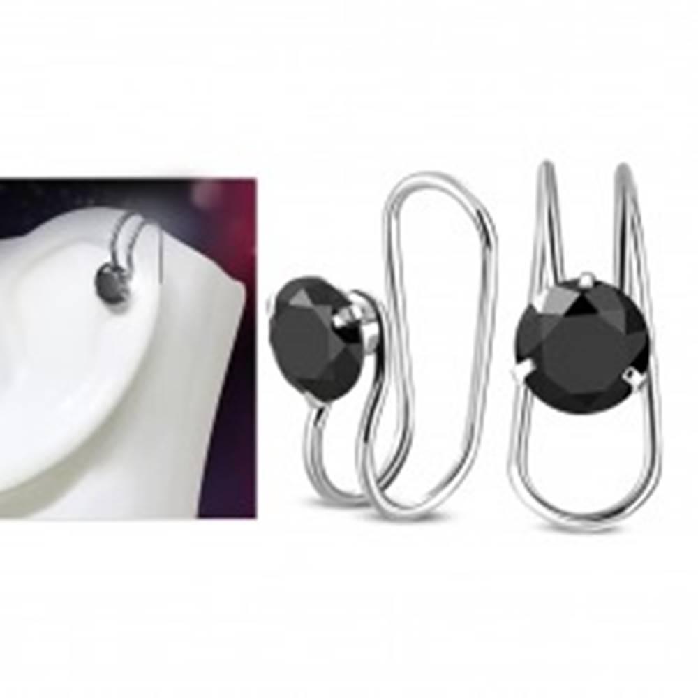 Šperky eshop Fake piercing do ucha, oceľ 316L, strieborná farba, okrúhly čierny zirkón