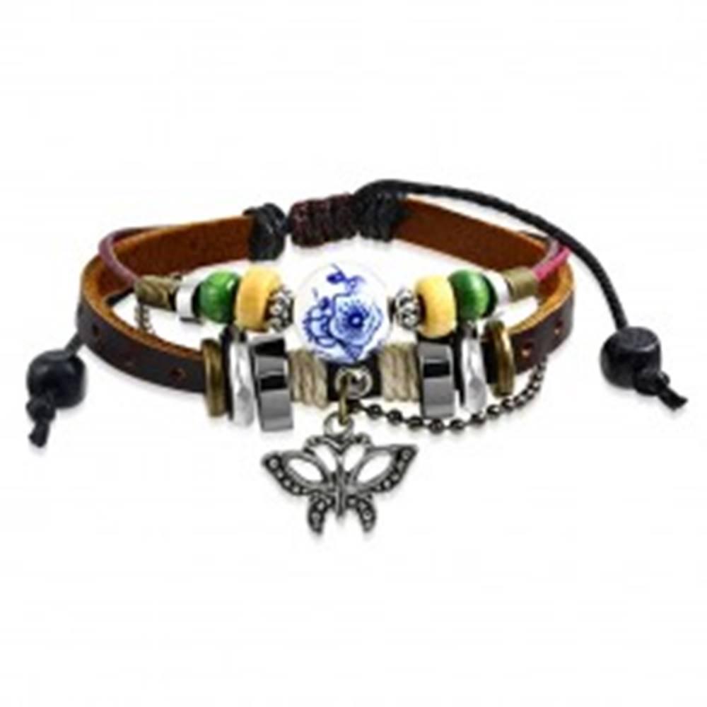 Šperky eshop Nastaviteľný multinarámok - kožený pás, prívesok v tvare motýľa, šnúrky, korálky