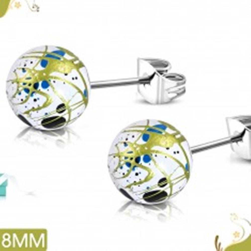 Šperky eshop Náušnice z chirurgickej ocele, biele akrylové guličky s farebnými fľakmi a líniami