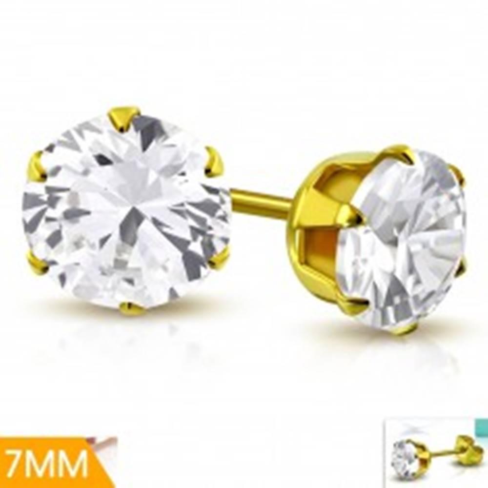 Šperky eshop Náušnice z chirurgickej ocele zlatej farby, číry zirkón v kotlíku, 7 mm