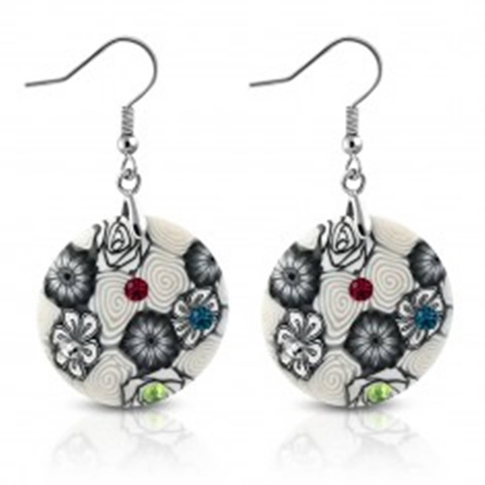 Šperky eshop Náušnice z materiálu FIMO - kruhy zdobené špirálami a kvetmi, farebné zirkóny