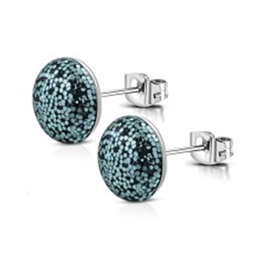 Šperky eshop Náušnice z ocele - okrúhla hlavička čiernej farby, svetlomodré trblietky