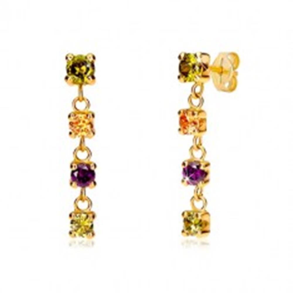 Šperky eshop Náušnice zo žltého 14K zlata - štvorica okrúhlych farebných zirkónov, puzetky