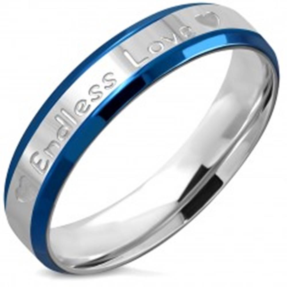 """Šperky eshop Obrúčka z ocele - nápis """"Endless Love"""" a srdiečka, jemne zrezané hrany, 5 mm - Veľkosť: 54 mm"""