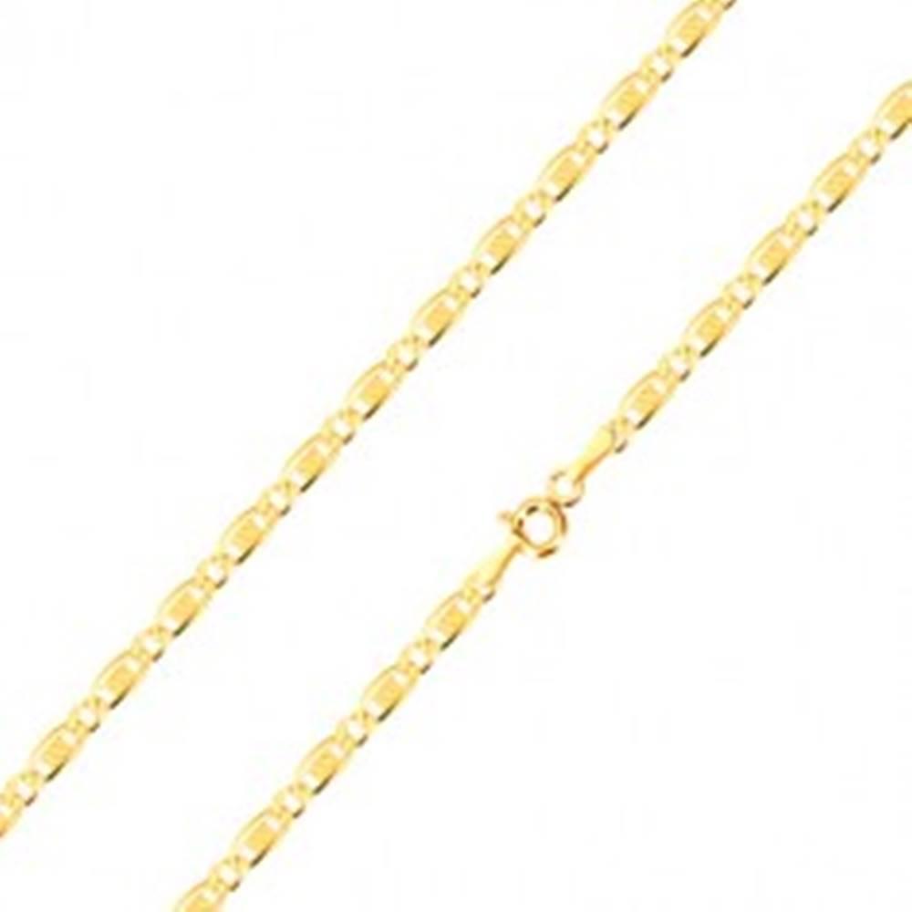 Šperky eshop Retiazka zo 14K zlata - oválne očko, podlhovasté očko s obdĺžnikom a mriežkou, 450 mm