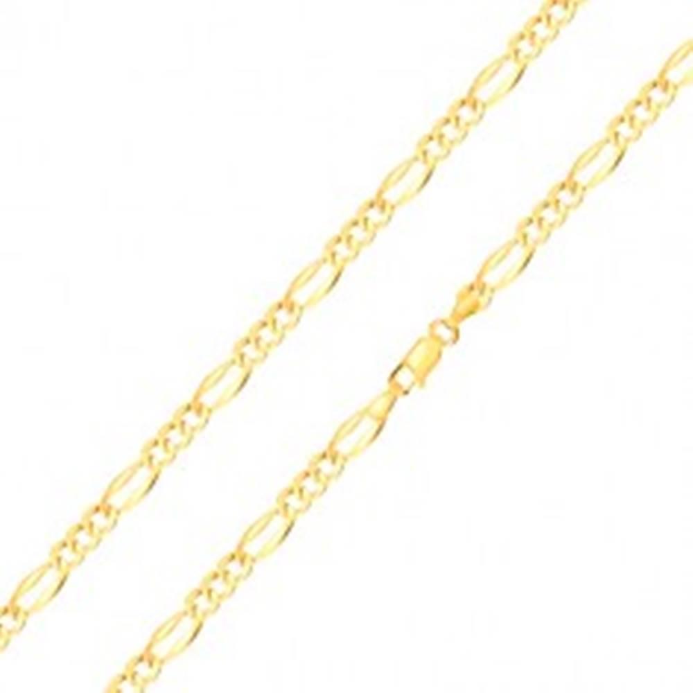 Šperky eshop Zlatá retiazka 14K, vzor Figaro - podlhovasté očko, tri oválne očká, 450 mm