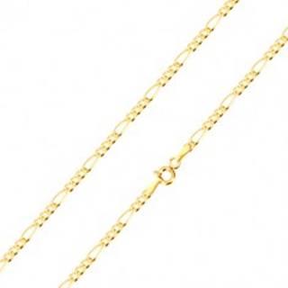 Retiazka v žltom zlate 585 - vzor Figaro, tri oválne a jedno podlhovasté očko, 450 mm