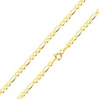 Retiazka zo žltého 14K zlata - tri oválne očká s paličkou, podlhovasté očko, 550 mm