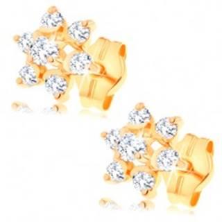 Zlaté náušnice 585 - číry zirkónový kvietok, vyvýšený stred, puzetky