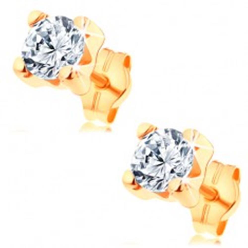 Šperky eshop Náušnice v žltom 14K zlate - číry okrúhly zirkón v hranatom kotlíku, 5 mm