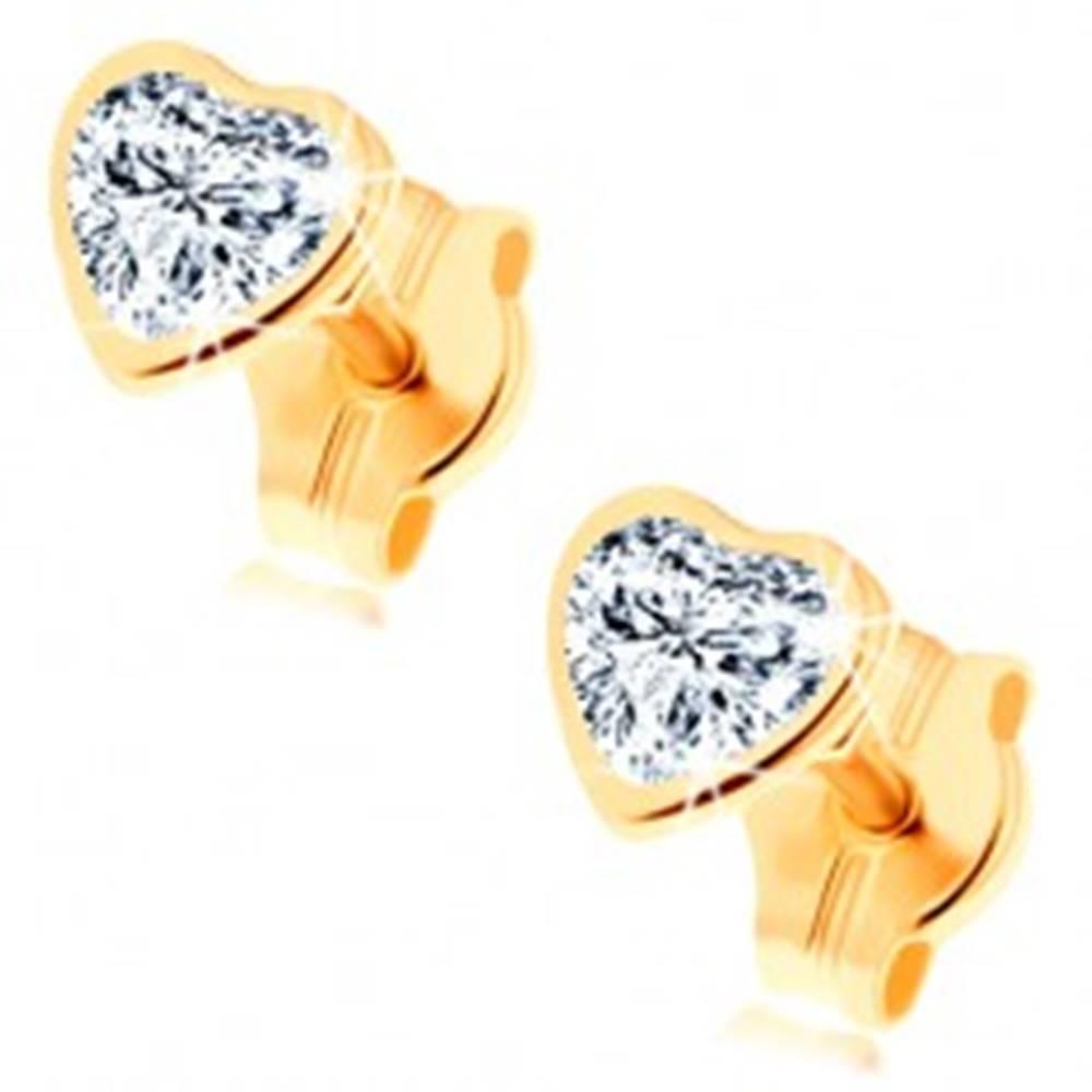 Šperky eshop Náušnice zo žltého 14K zlata - brúsené zirkónové srdiečko čírej farby