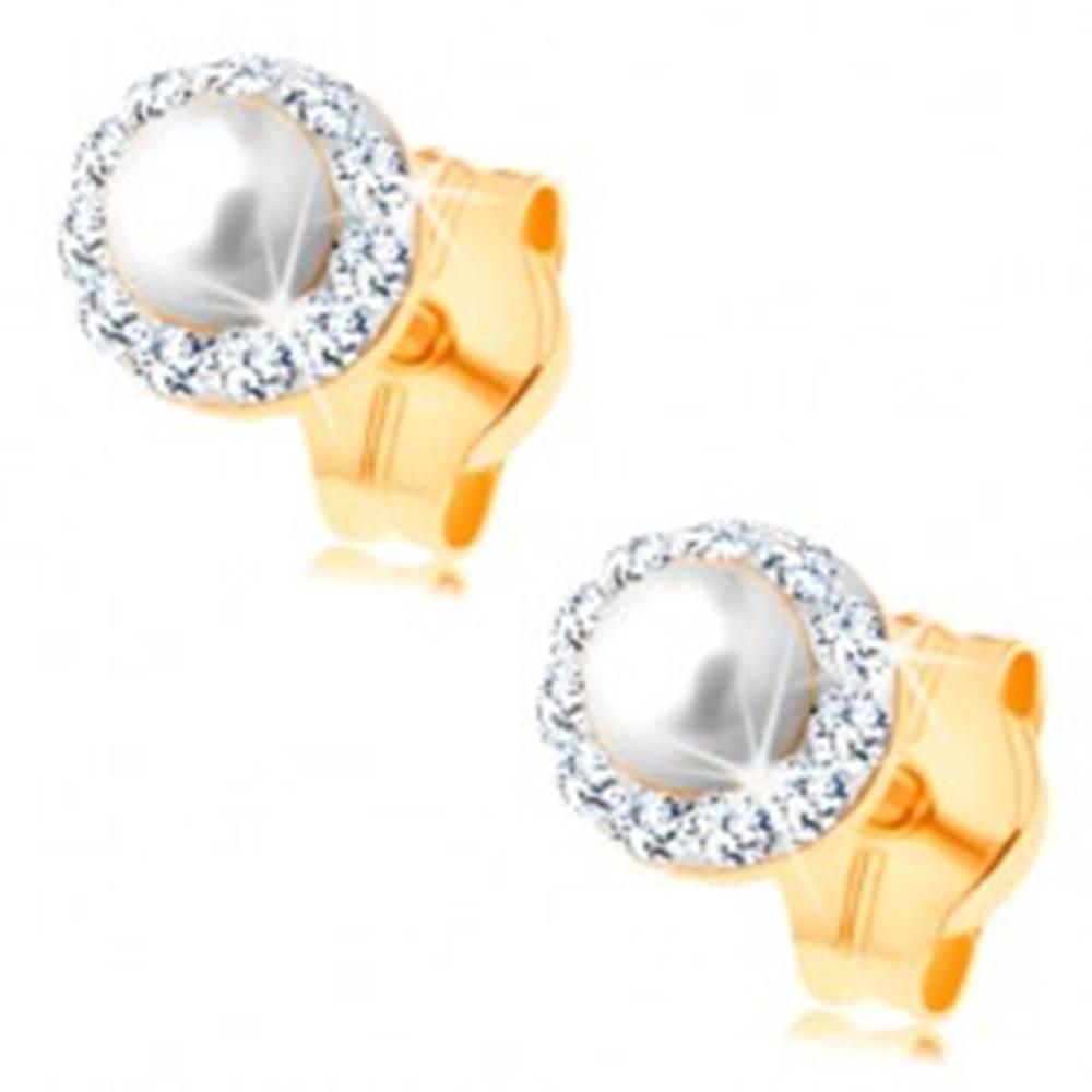Šperky eshop Náušnice zo žltého 14K zlata - guľatá biela perlička s čírym trblietavým lemom