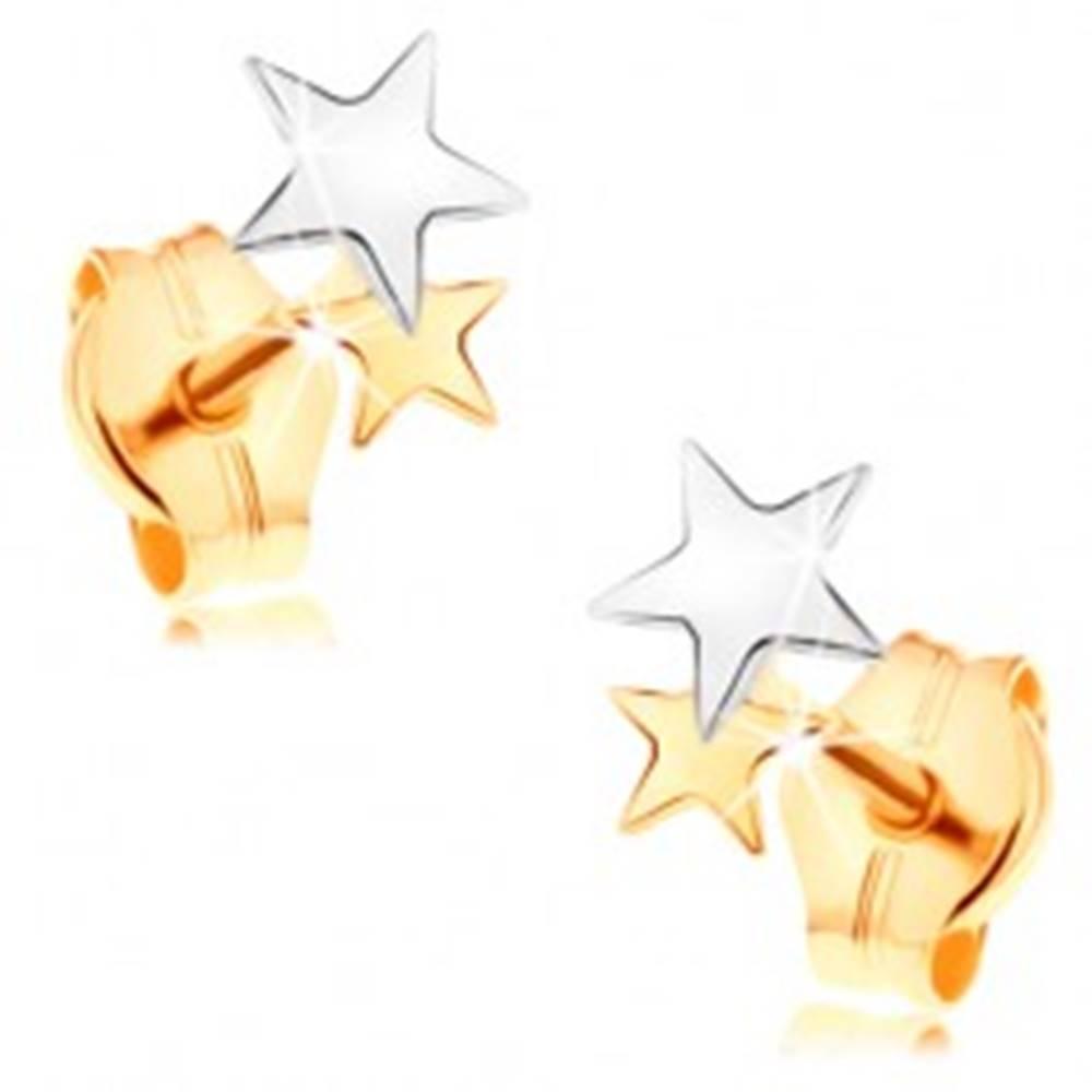 Šperky eshop Puzetové náušnice v 14K zlate - lesklé dvojfarebné hviezdičky