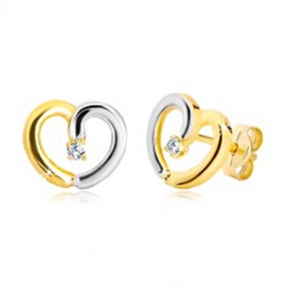 Šperky eshop Puzetové náušnice z kombinovaného zlata 585 - kontúra srdca s briliantom