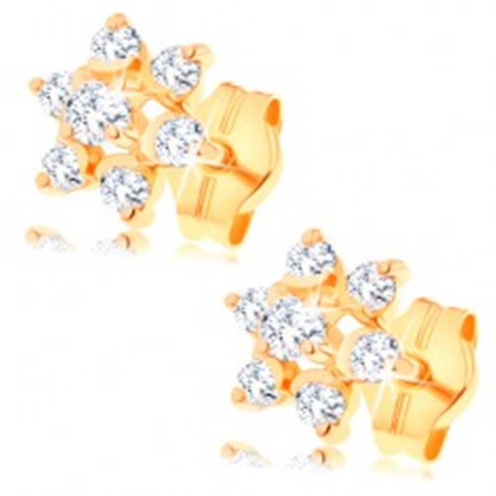 Šperky eshop Zlaté náušnice 585 - číry zirkónový kvietok, vyvýšený stred, puzetky