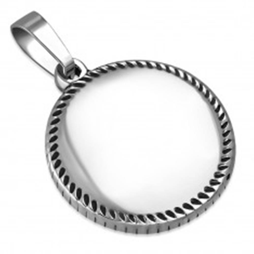Šperky eshop Prívesok striebornej farby z ocele - krúžok s drobnými slzičkami po obvode