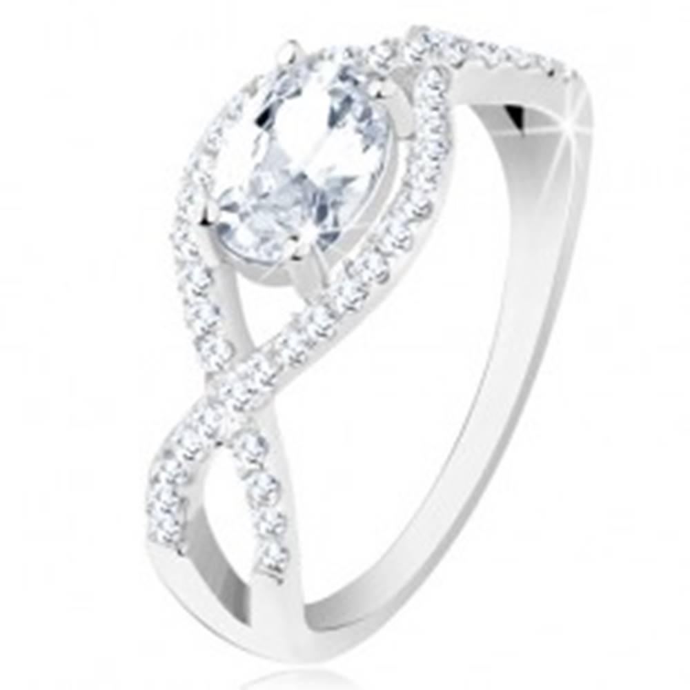 Šperky eshop Strieborný prsteň 925, prepletené zirkónové línie, oválny brúsený zirkón - Veľkosť: 48 mm