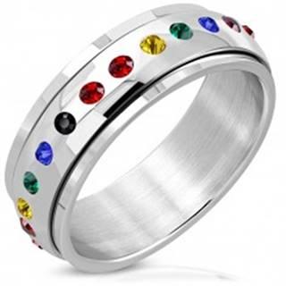 Lesklý oceľový prsteň - otáčavý stred, zirkóny vo farbách dúhy - Veľkosť: 52 mm
