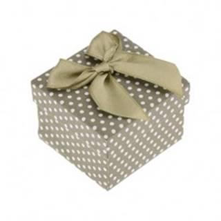 Darčeková krabička na prsteň alebo náušnice, zelený povrch, bodky, mašľa