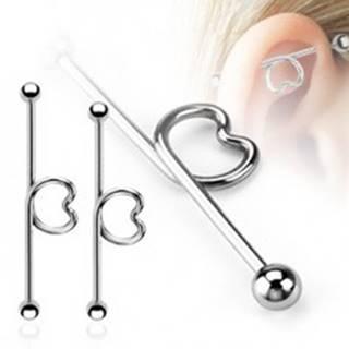 Oceľový piercing do ucha - činka so srdcom a guličkami - Dĺžka piercingu: 32 mm