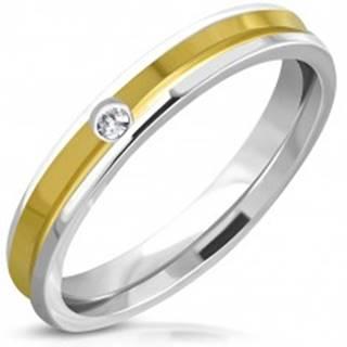 Prsteň z ocele - obrúčka so priehlbinkou zlatej farby v strede, číry kameň - Veľkosť: 49 mm