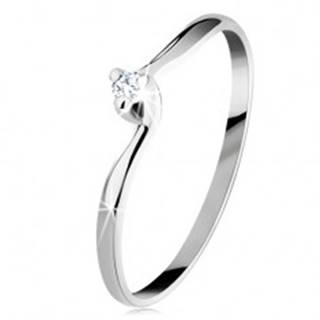 Zásnubný prsteň v bielom 14K zlate - číry brúsený diamant, úzke ramená - Veľkosť: 49 mm