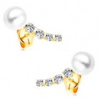 Zlaté 14K náušnice, žiarivý zirkónový oblúk a biela guľatá perla bielej farby